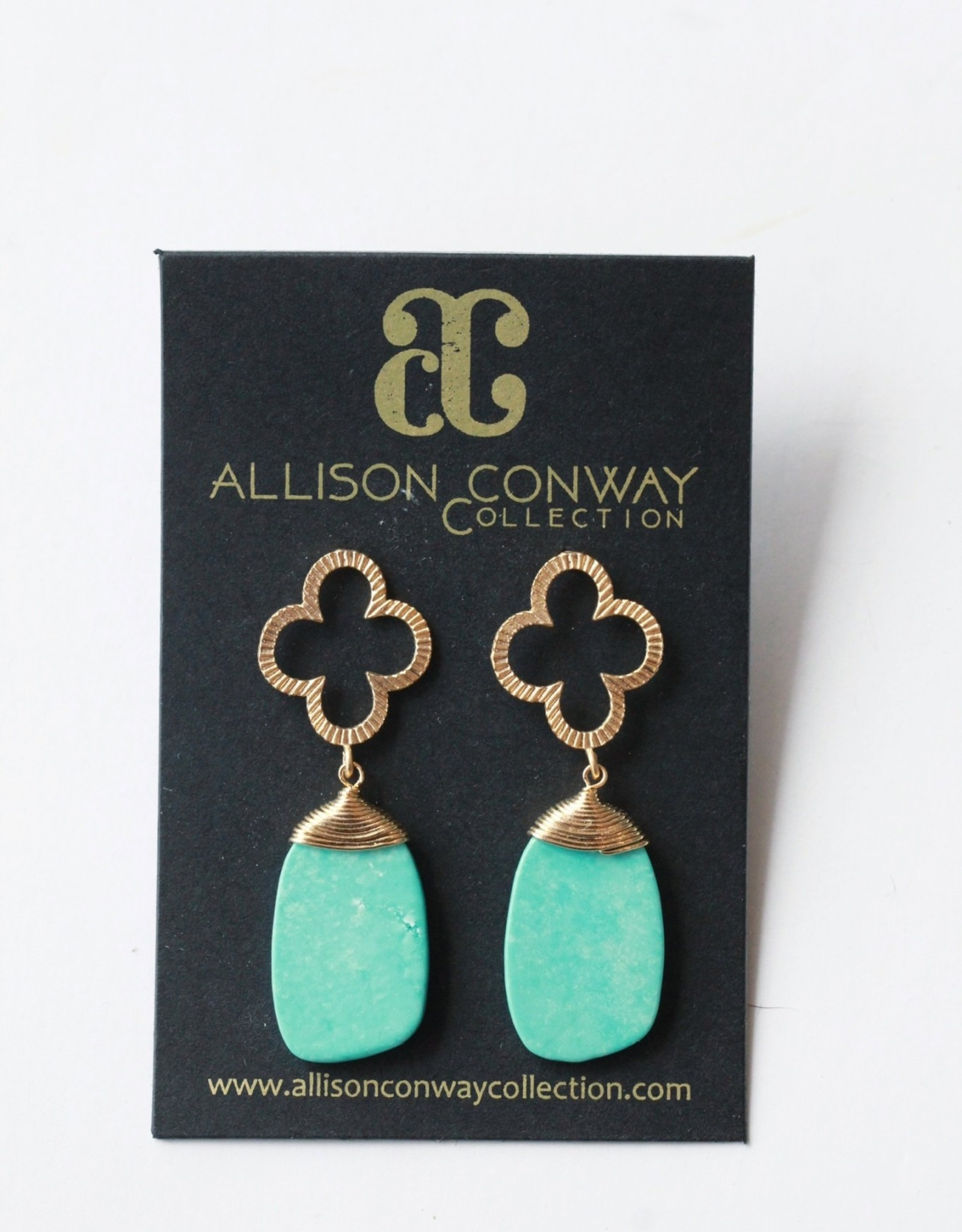 Allison Conway AC Turquoise Clover Earrings