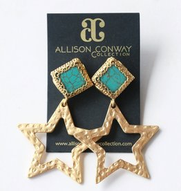 Allison Conway AC Turquoise Gold Stars Earrings