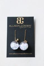 Allison Conway AC White Confetti Drop Earrings