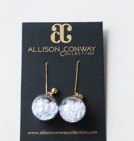 Allison Conway AC White Confetti Drop Earrings