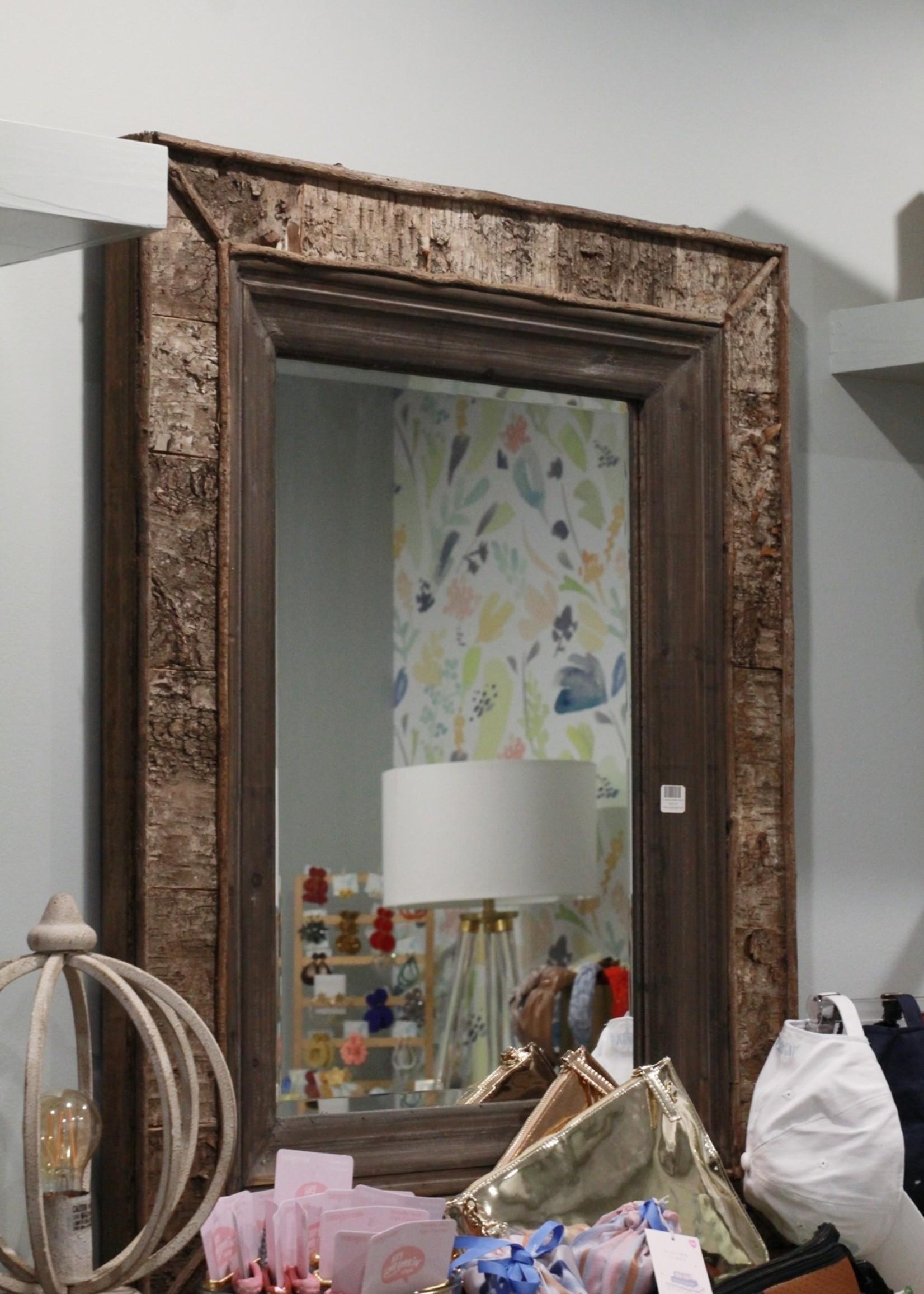 Bark and Wood Framed Mirror