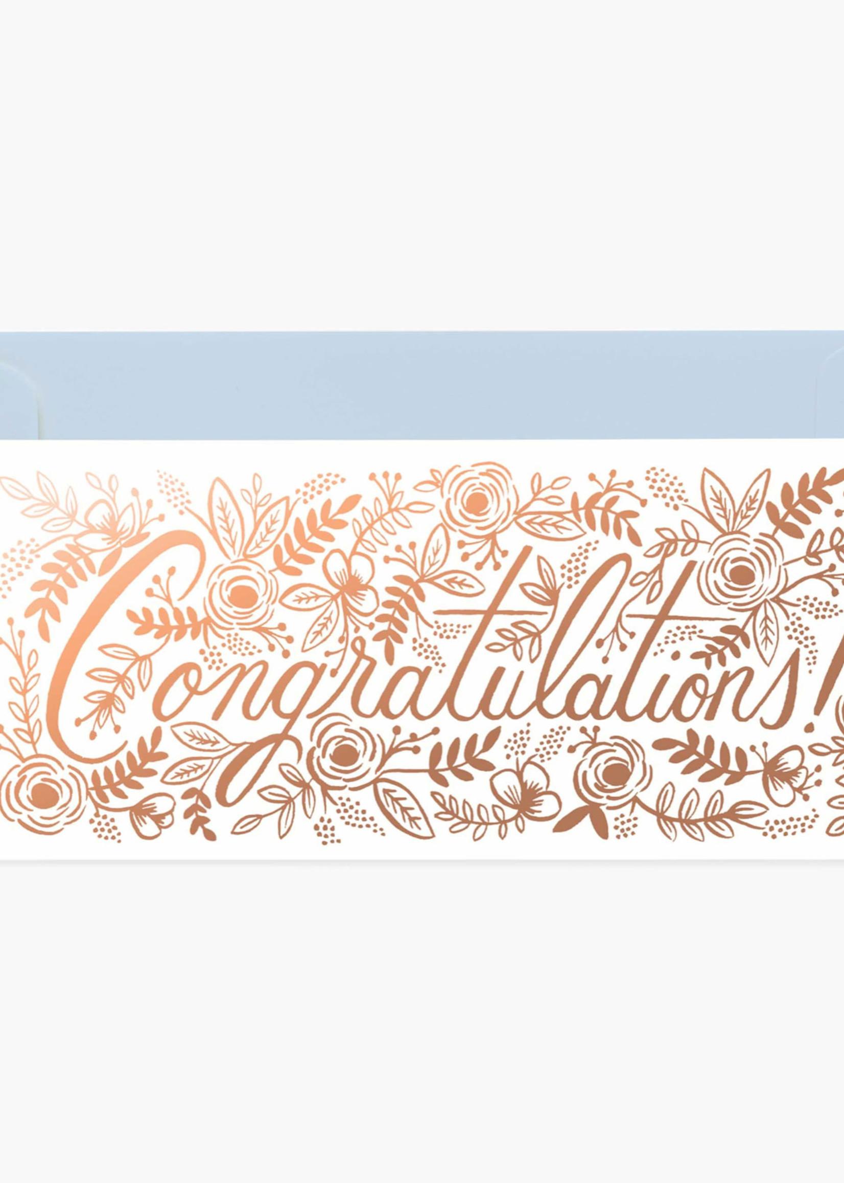 Champagne Floral Congrats No 10 Card