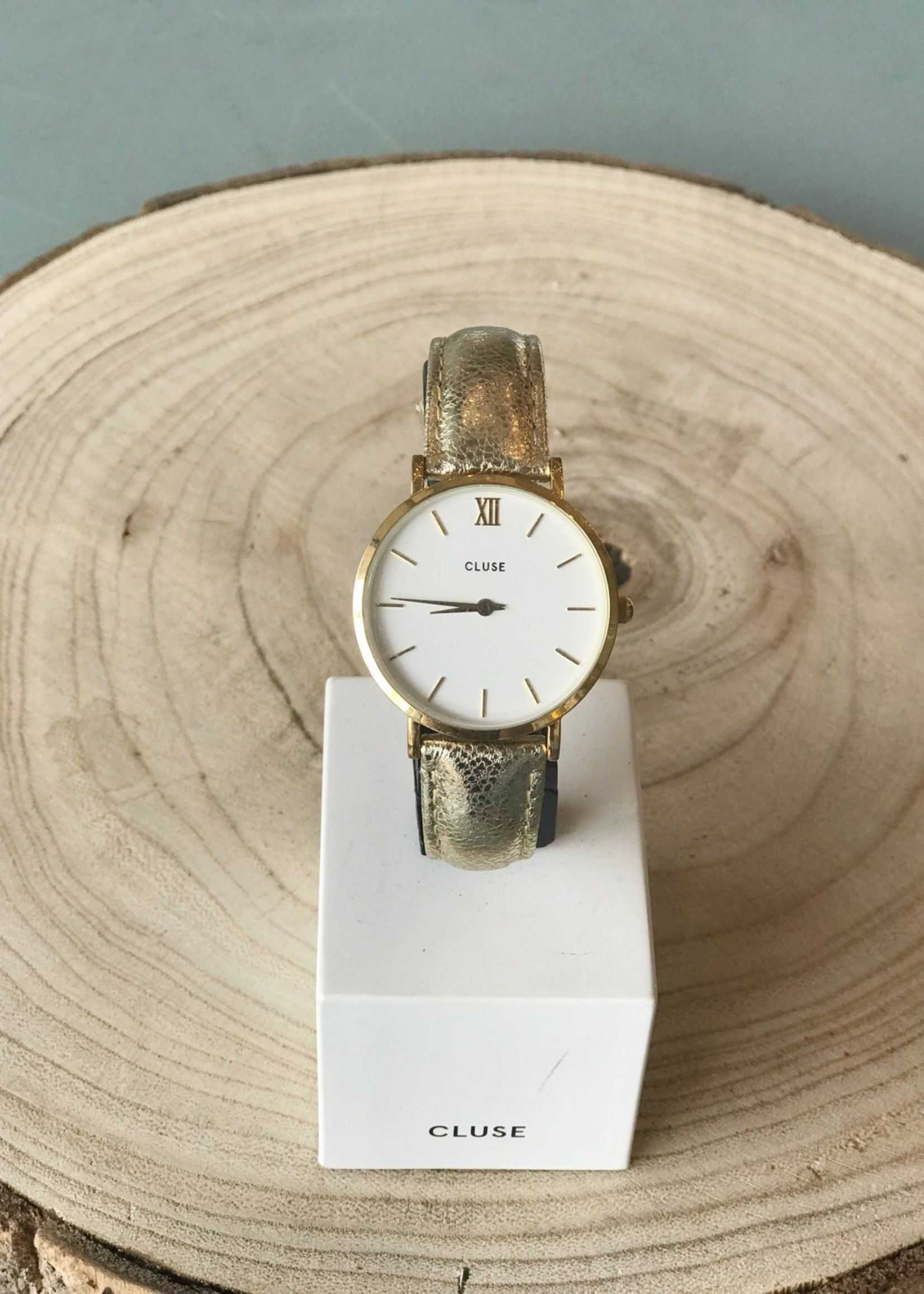 Cluse Minuit Gold/White Gold Metallic Watch