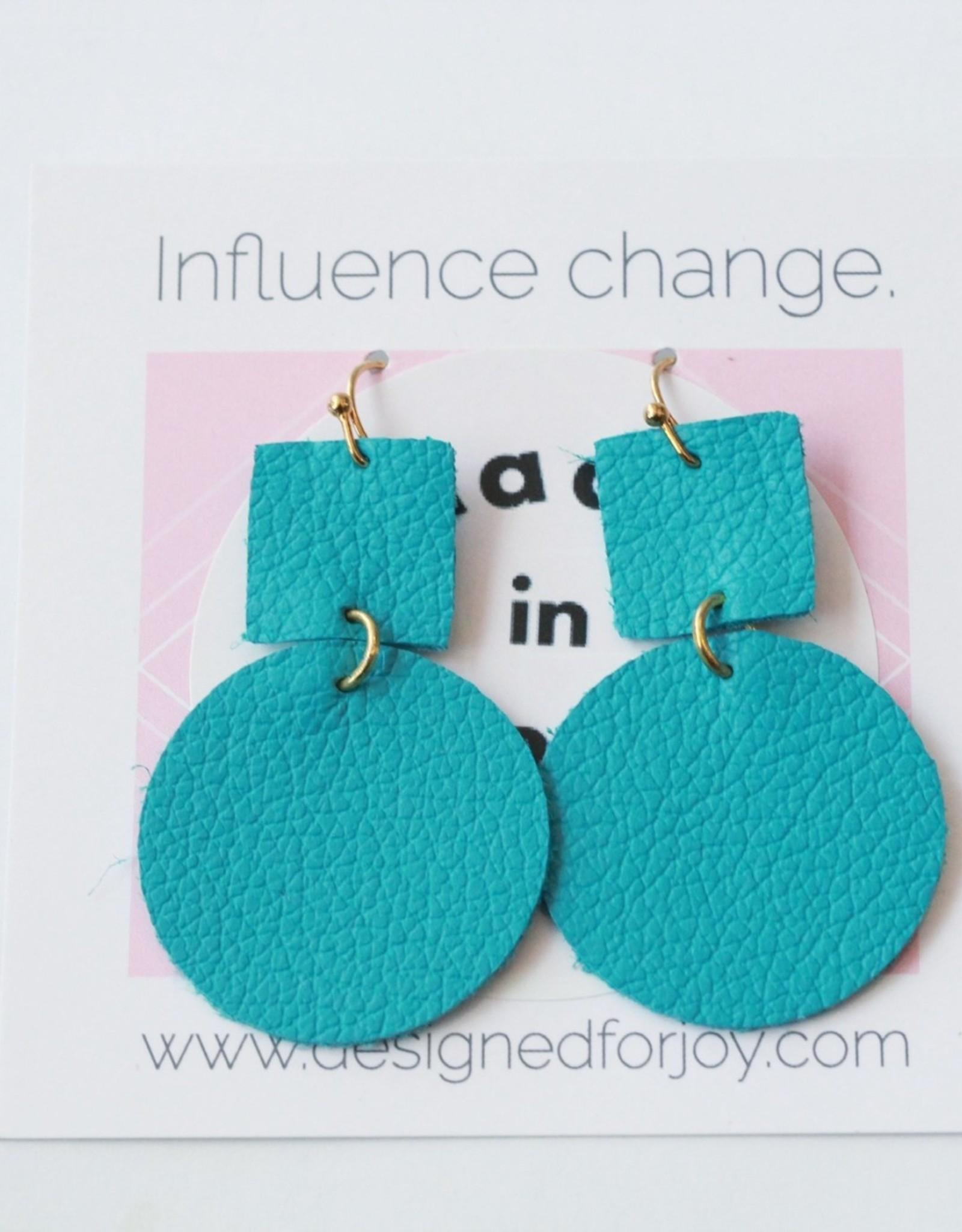 Designed for Joy DFJ Stacked Geo Leather Earrings