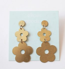 Ellipis Flower Drop Earrings