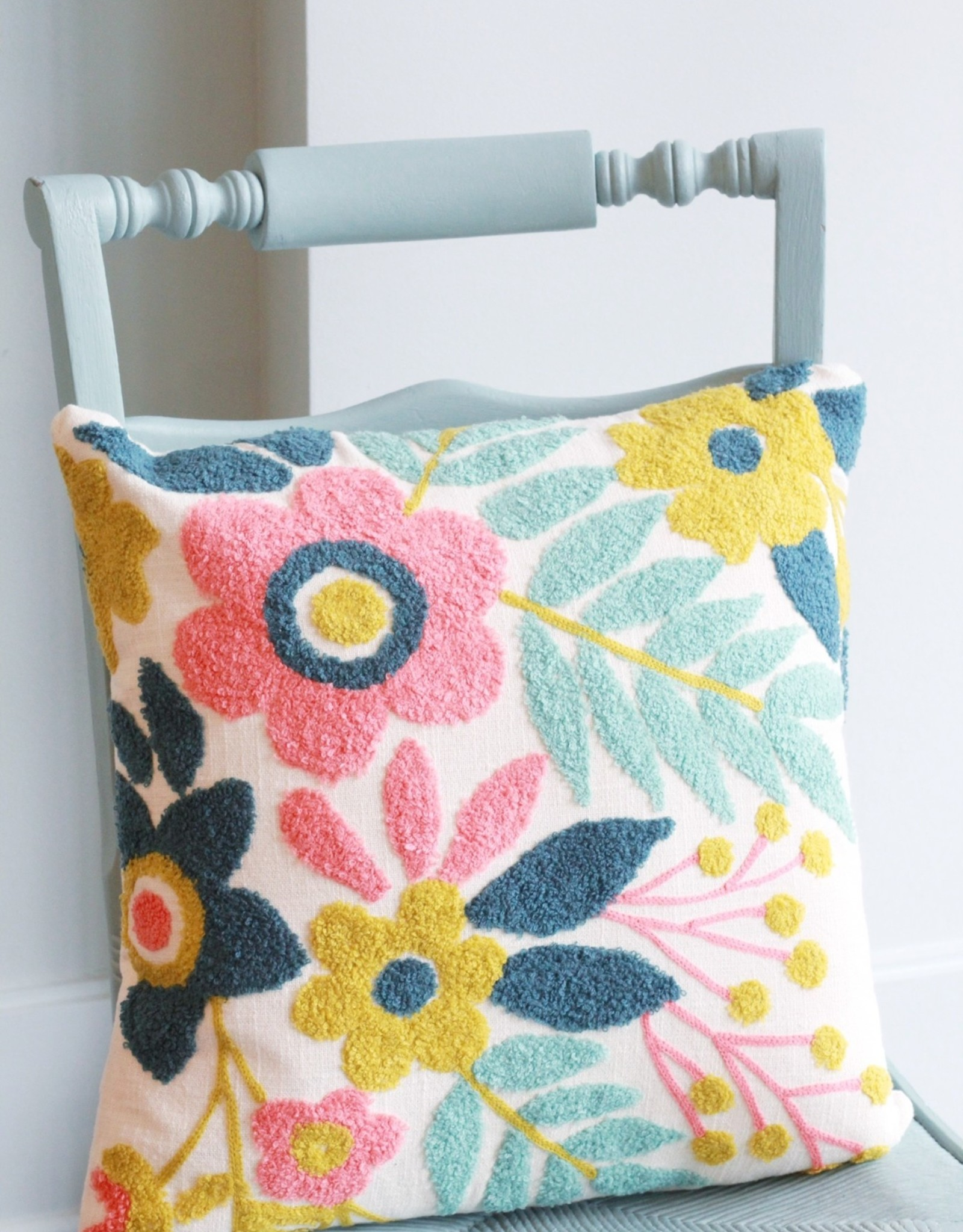 """Embroidered Floral Pillow 18"""" Square"""