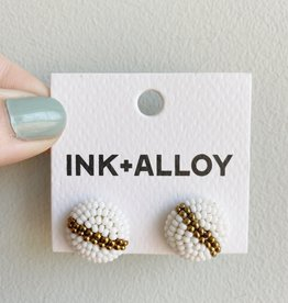 Ink + Alloy Gold and White Button Studs