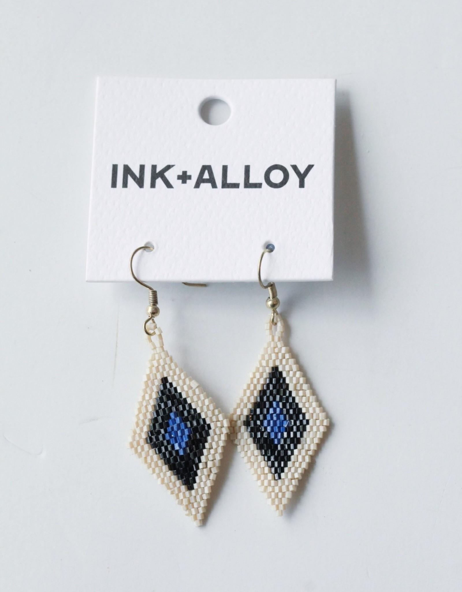 Ink + Alloy Lapis Black Ivory Border Diamond Earrings