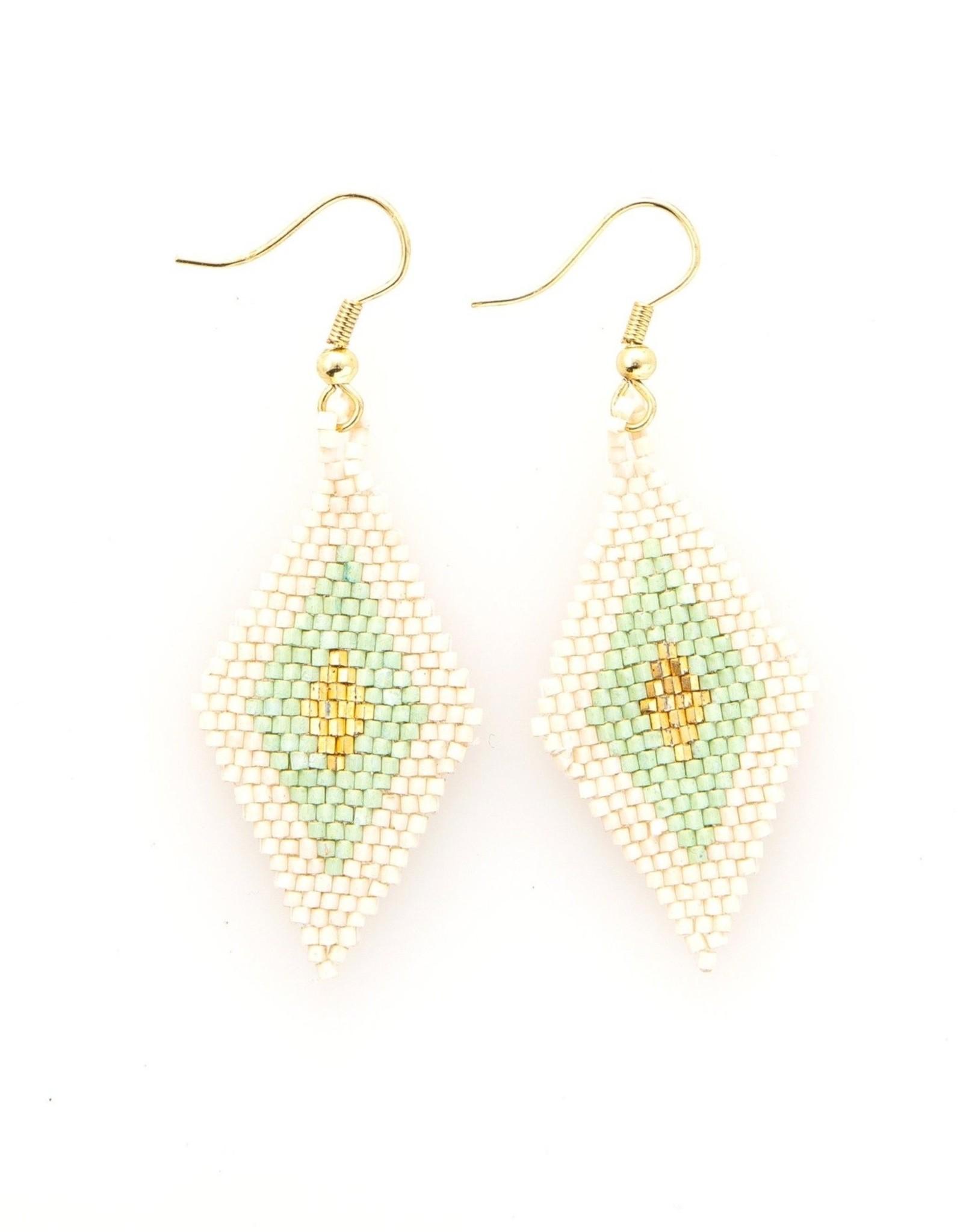 Ink + Alloy Mint Gold Ivory Border Diamond Earrings