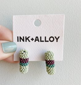 Ink + Alloy Multi Mint Seed Cylinder Earrings