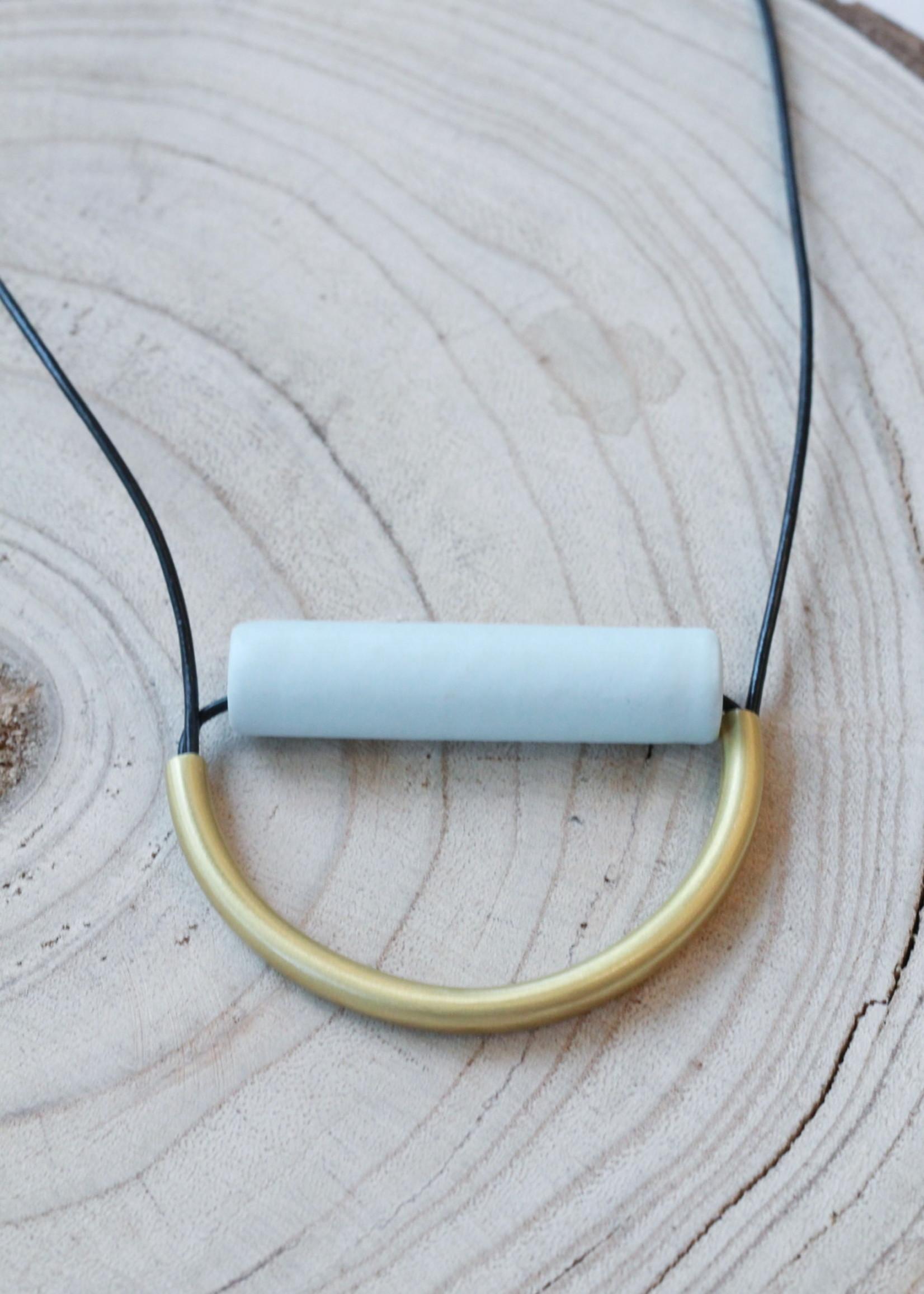 Ink + Alloy Sky Ceramic and Brass Necklace