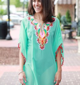 Embellished Caftan with Pom Trim