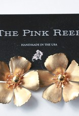 Pink Reef Pink Reef Large Gold Flower Earrings