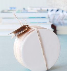 Mango Wood & White Enamel Coasters S/4