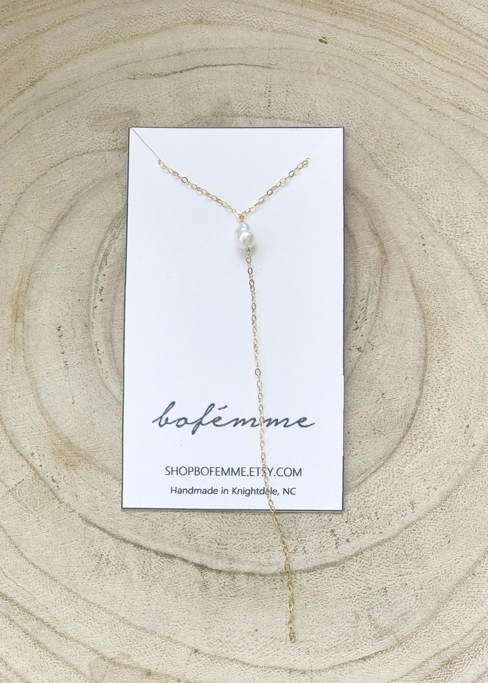Bofemme Bofemme Minimal White Pearl Lariat Necklace