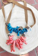 Allison Conway AC Coral Necklace with suede neck