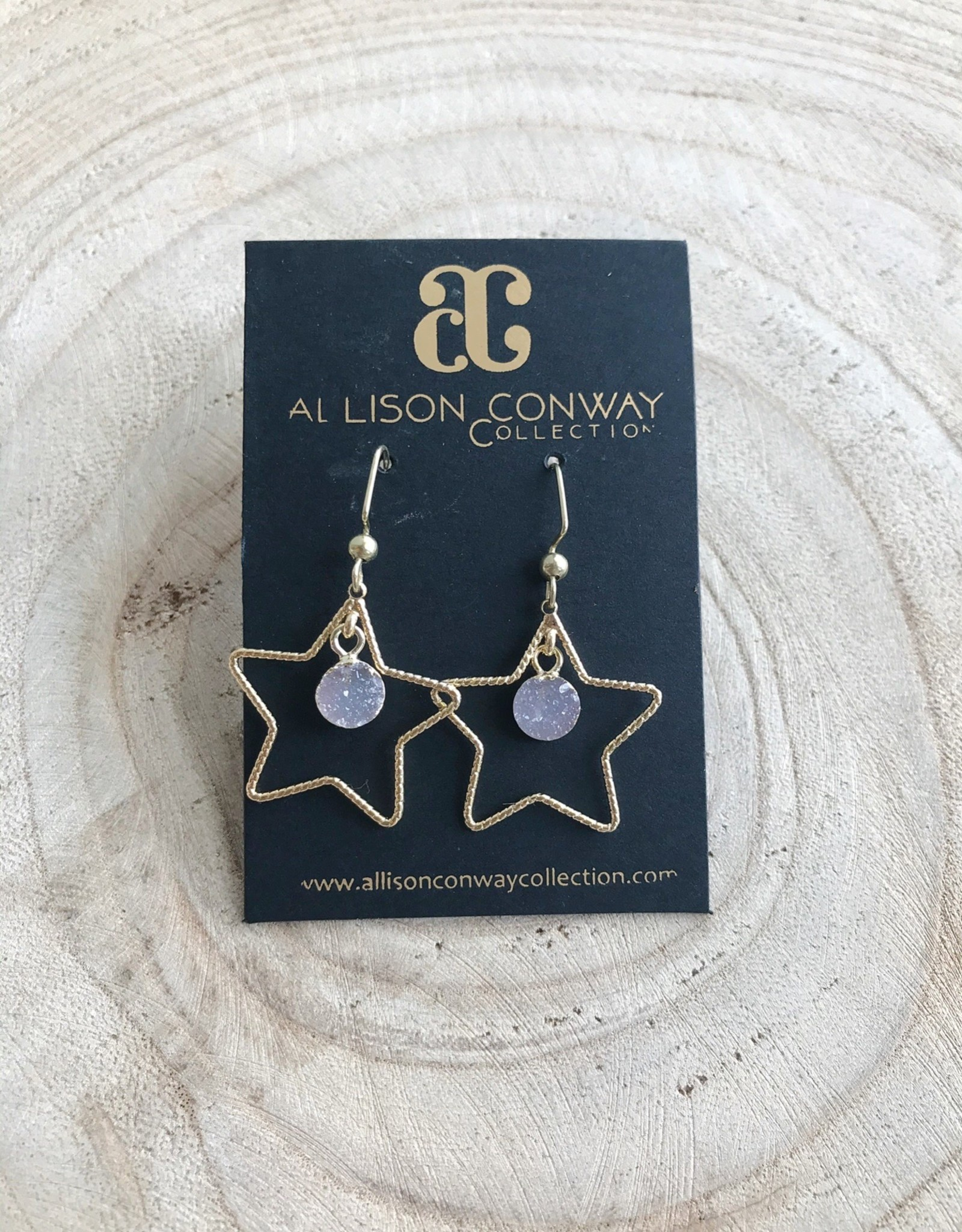 Allison Conway AC Small Druzy Star Earrings
