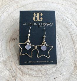 Allison Conway AC Small Druzy Star Earrings