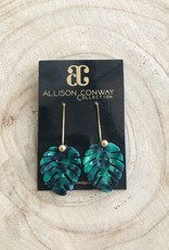 Allison Conway AC Small Green Palm Drop Earrings