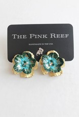 Pink Reef Pink Reef Emerald & Blue Hand Formed studs