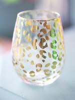 Stemless Wineglass Gold Leopard