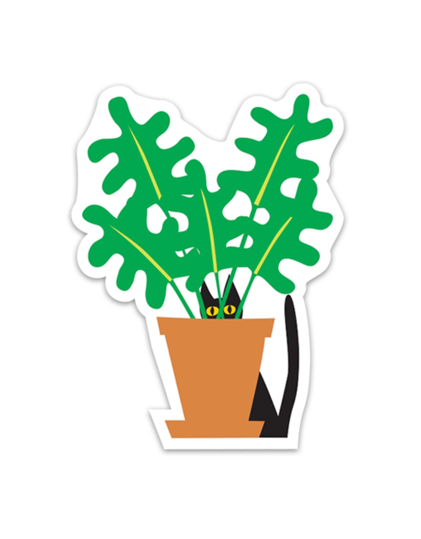 R. Nichols Cat in Plant Sticker