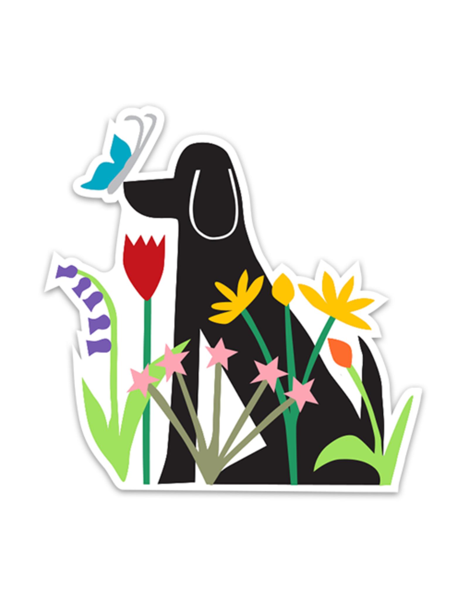 R. Nichols Dog in Garden Sticker