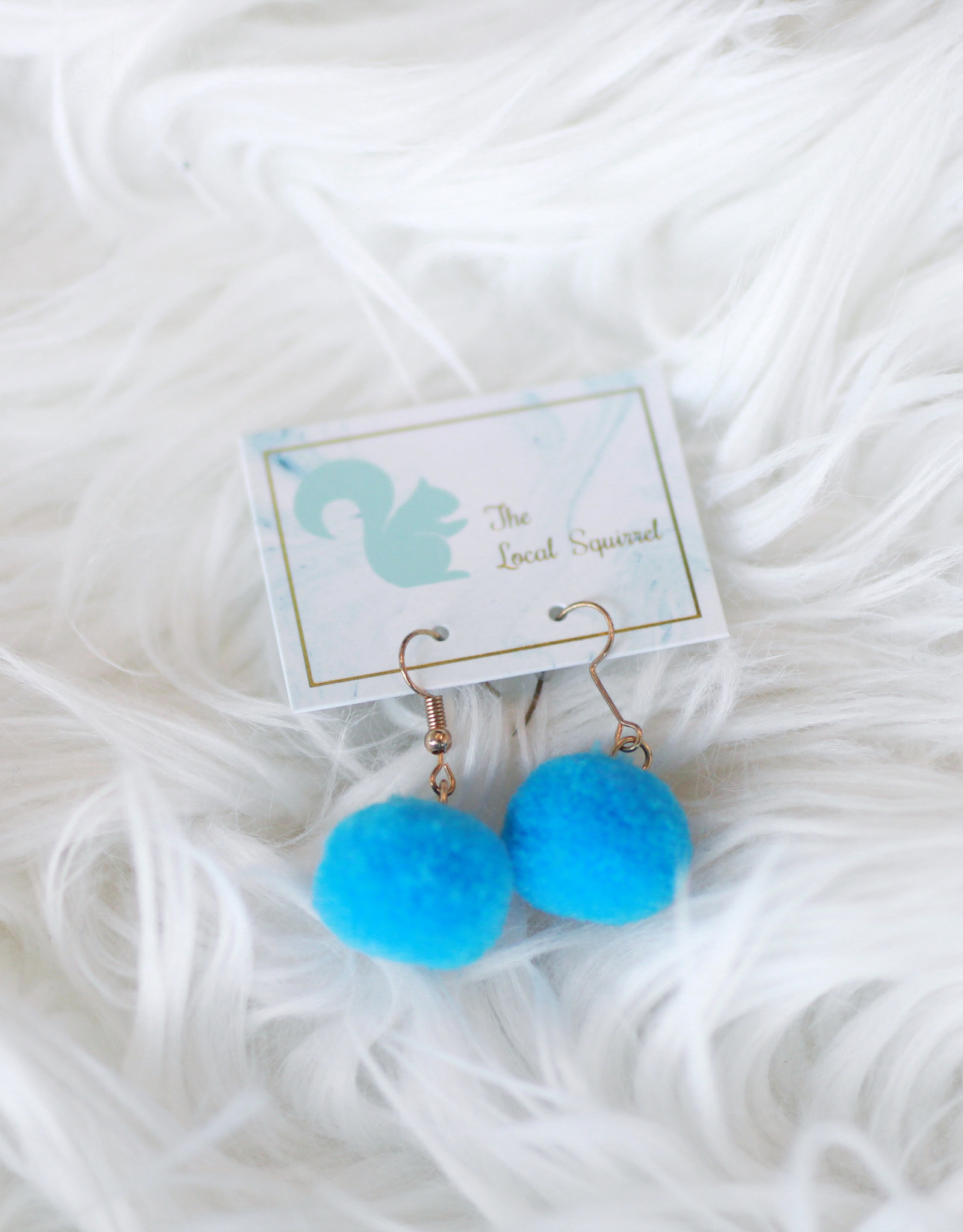 Blue Pom Earrings