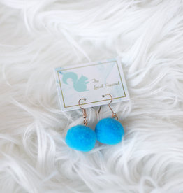 Blue Pom Earrings