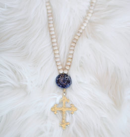 Allison Conway AC Southern Gold Cross Long Necklace