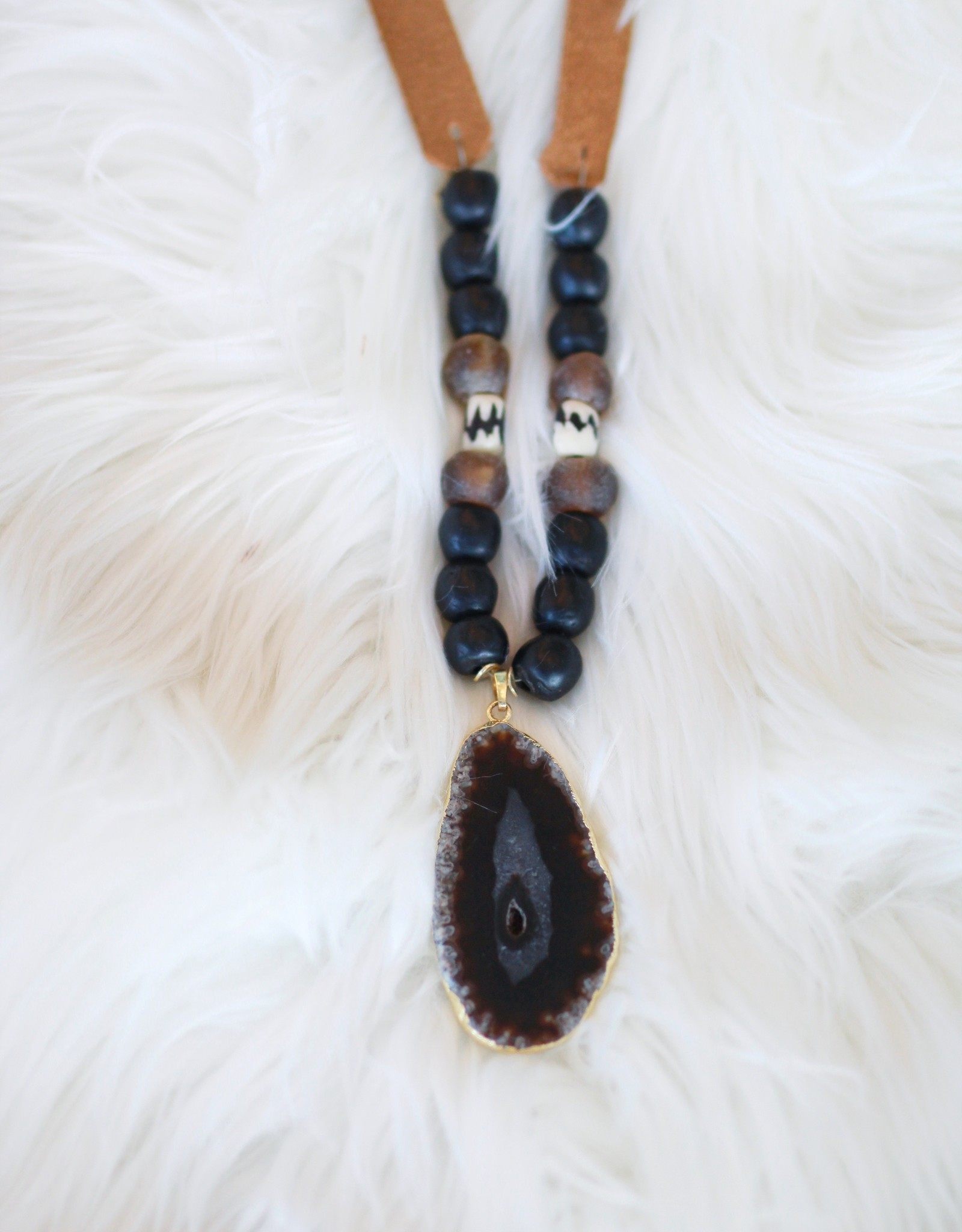 Allison Conway AC Black and Brown Geode Suede Necklace