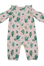 Cactus Ruffle Sleeve Romper Pink 3-6M
