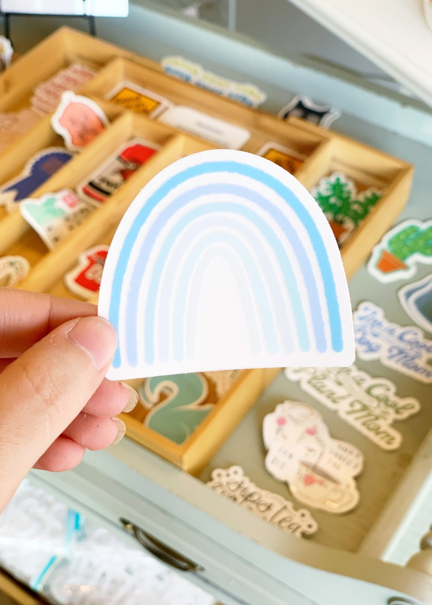 Elyse Breanne Design Clear Blue Rainbow Sticker