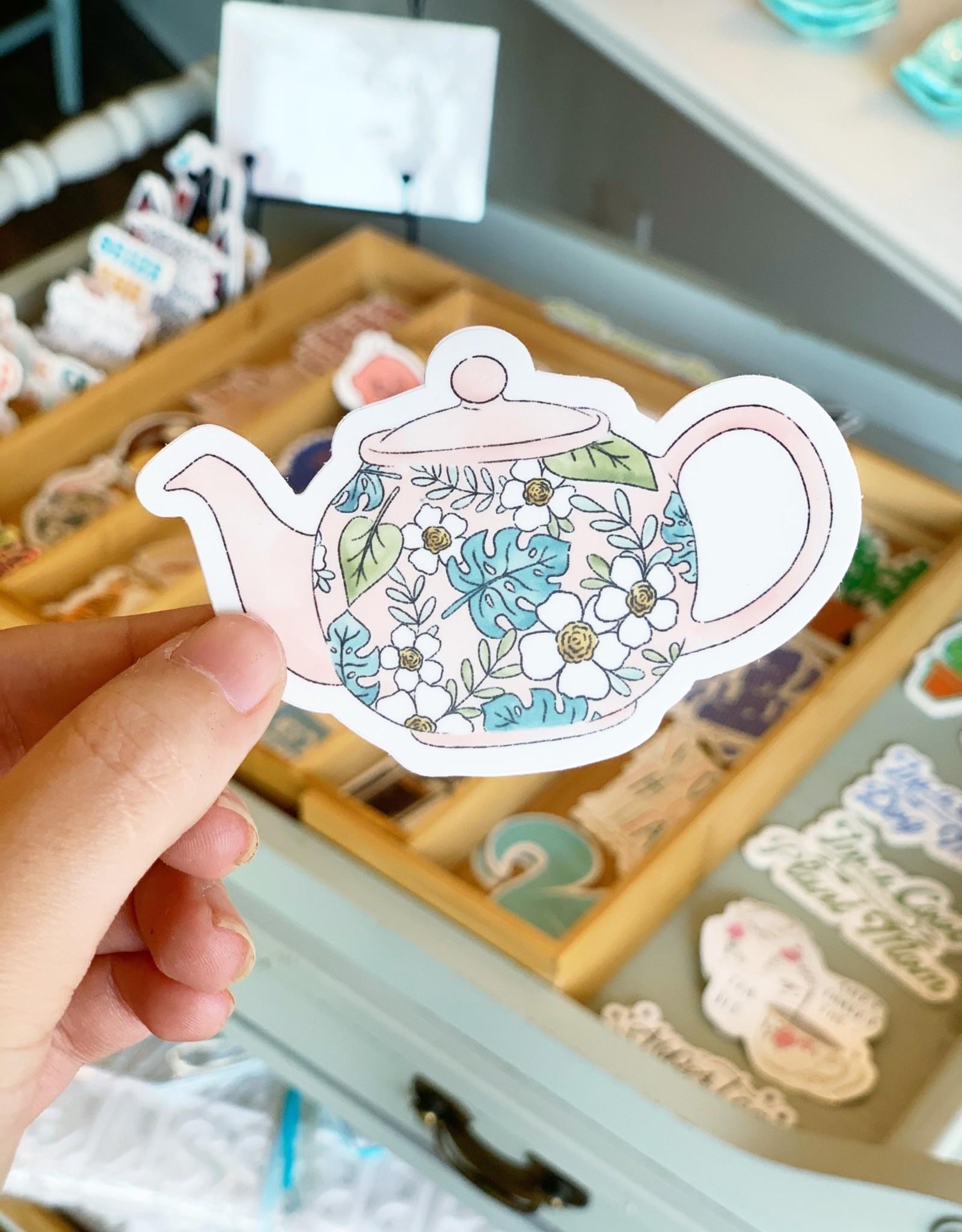 Elyse Breanne Design Tropical Pink Teapot Sticker