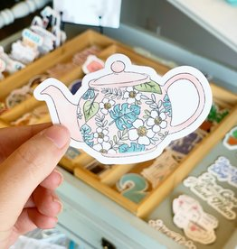 Elyse Breanne Design Tropical Pink Teapot Sticker
