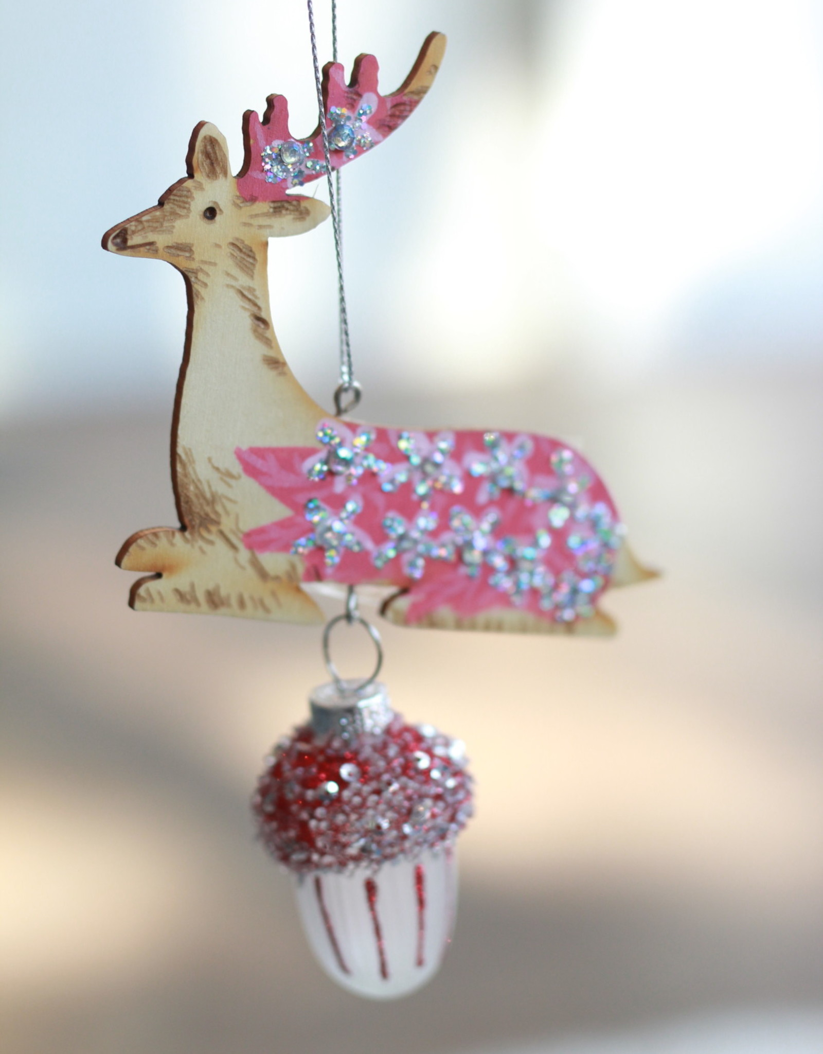 Woodland Deer Glass Ornament