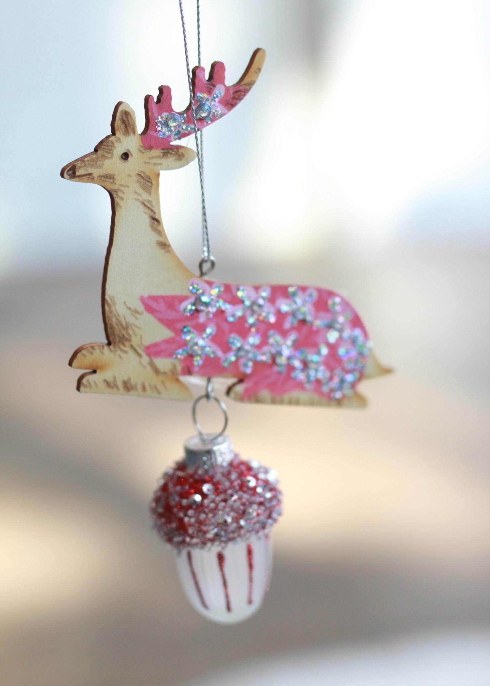 Woodland Deer Glass Ornament