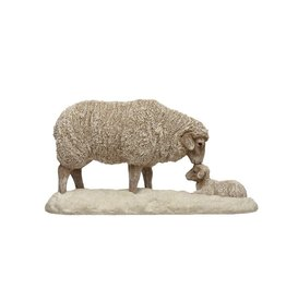 Resin Momma and Baby Sheep Figurine