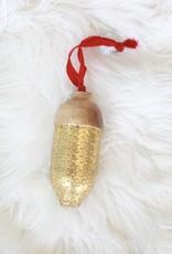 Wooden Gold Acorn Ornament