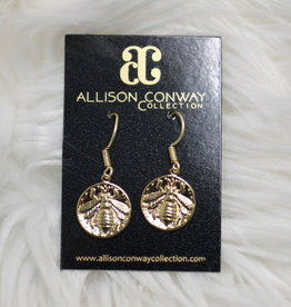 Allison Conway AC Gold Bee Earrings