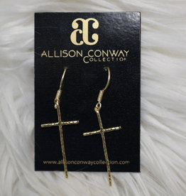 Allison Conway AC Gold Cross Earrings