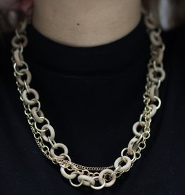 Erin McDermott Trunk Show N20 Wooden Gold Necklace
