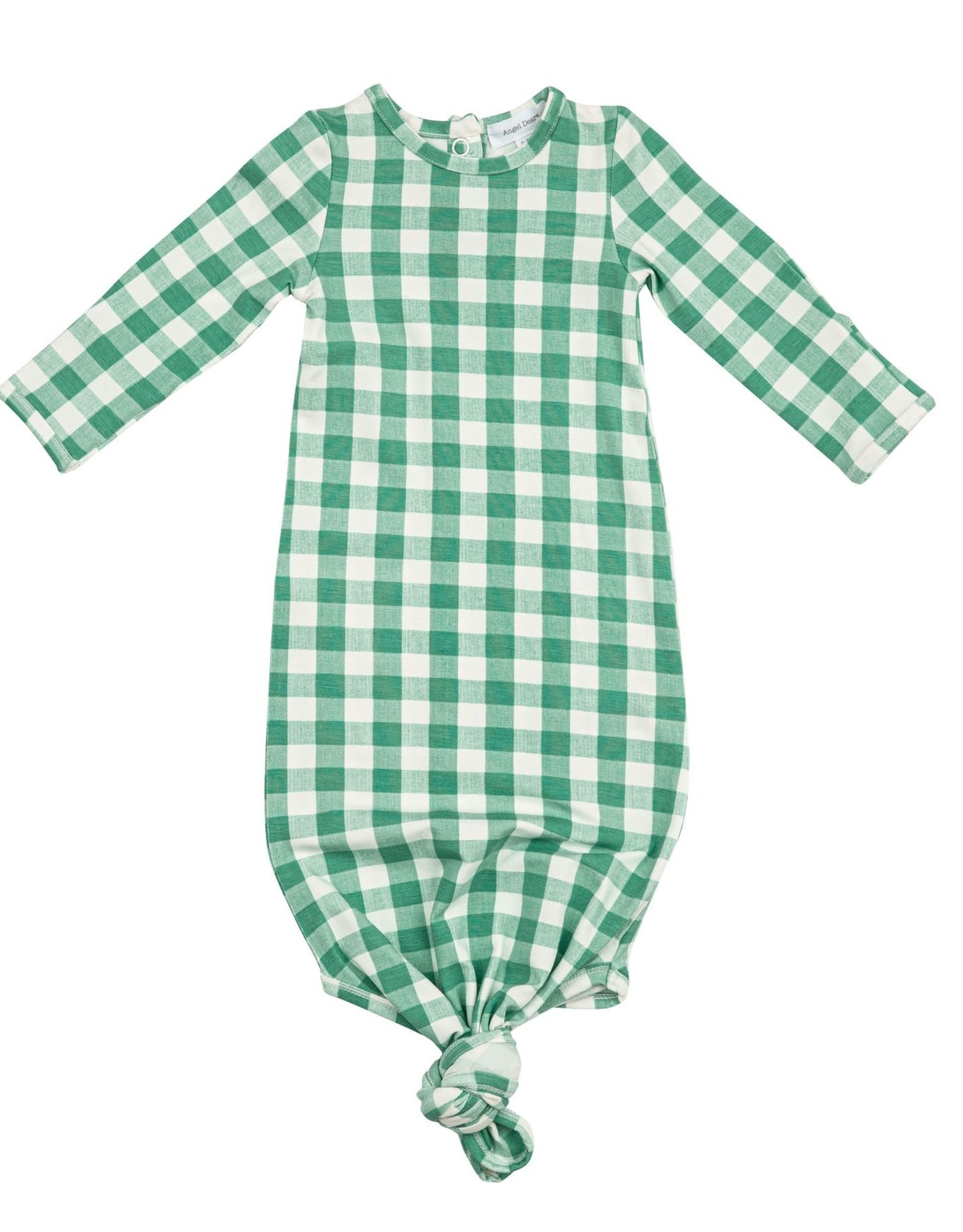 Green gingham Knotted Gown 0-3m