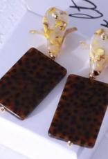 SFY Block Earrings- Speckled Brown