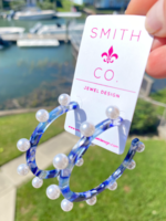 Smith & Co LS Wanderlust Pearl Hoop- Cobalt Blue