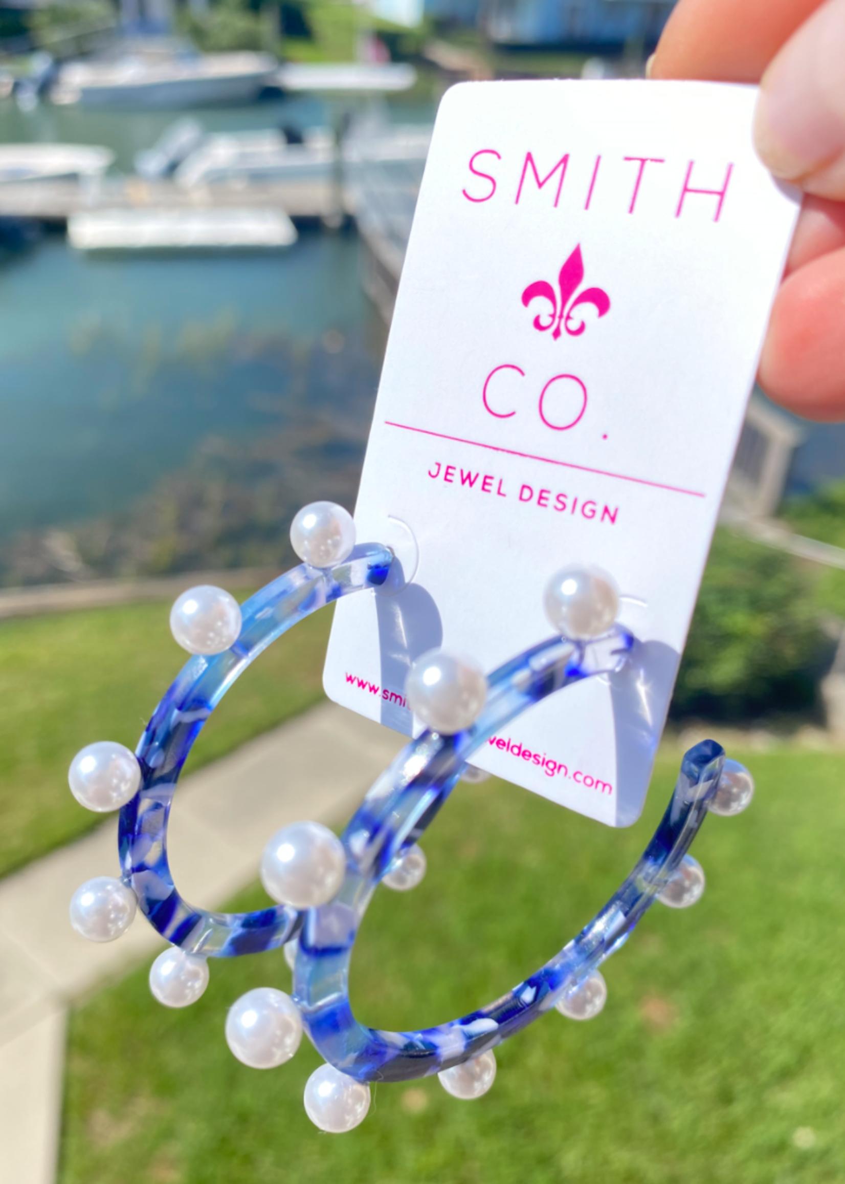 Smith & Co LS Wanderlust Pearl Hoop- Cobalt Blue