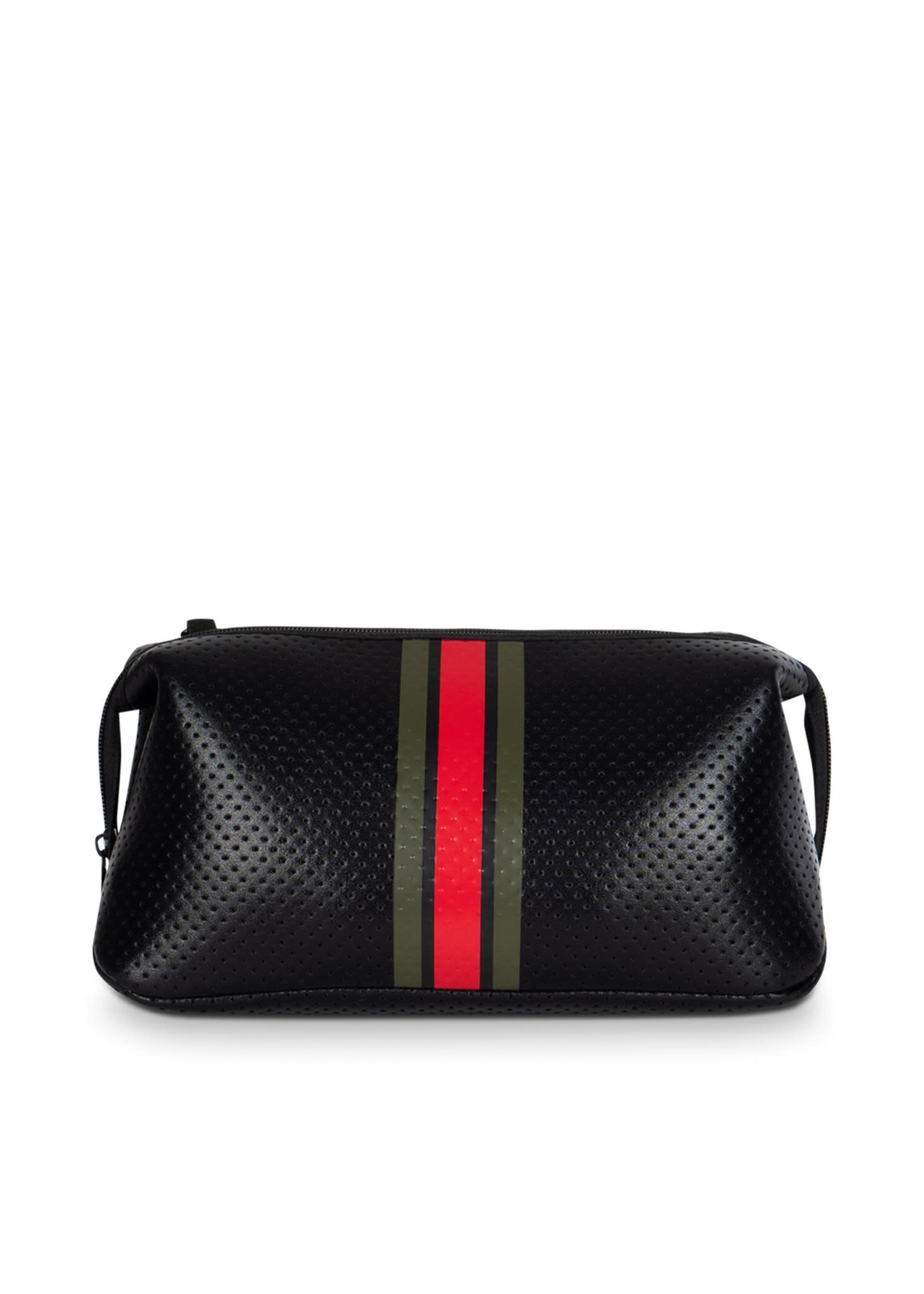 Kyle Travel Pouch Black Army Green/Red Stripe