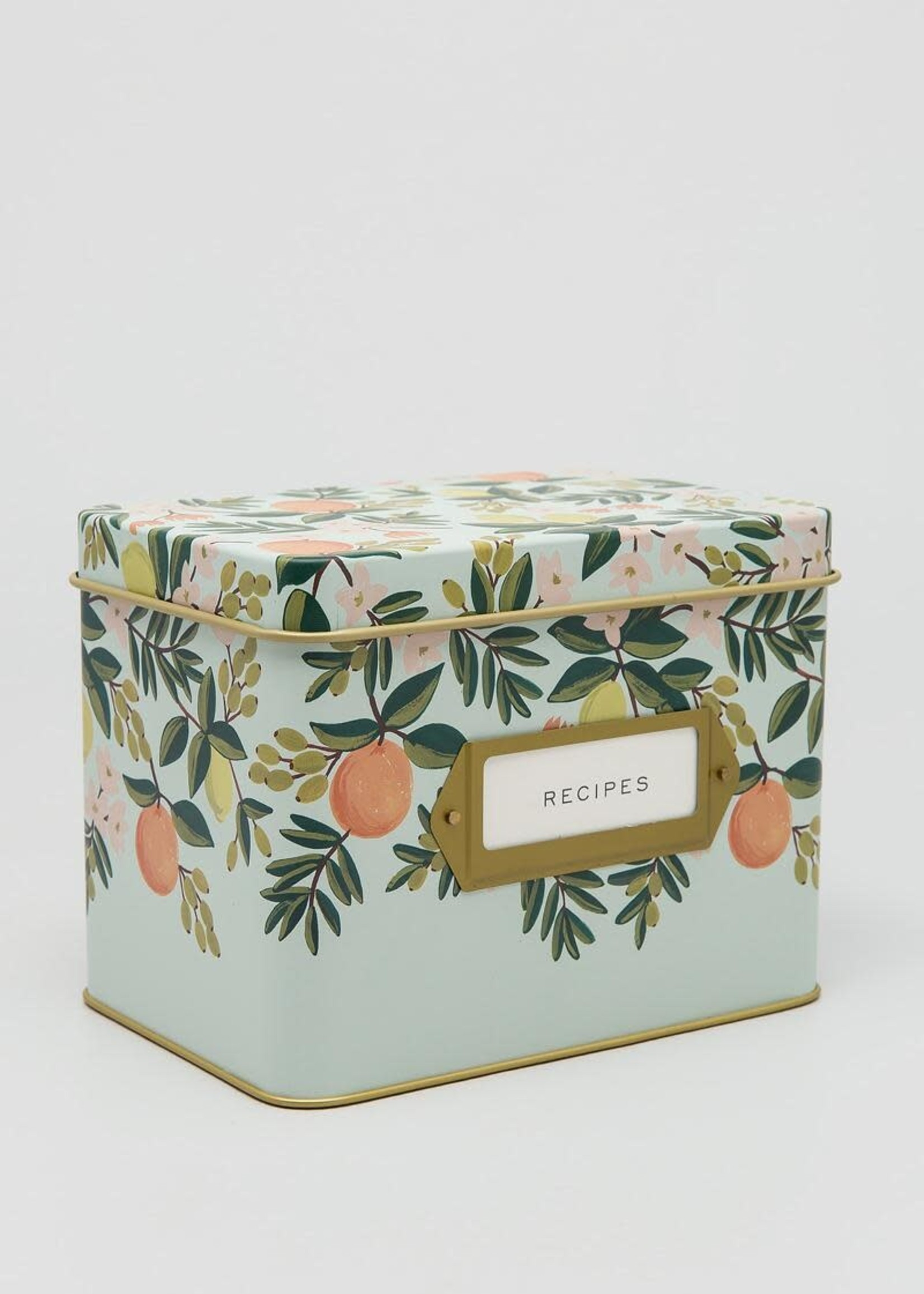Recipe Box with Cards Citrus Floral