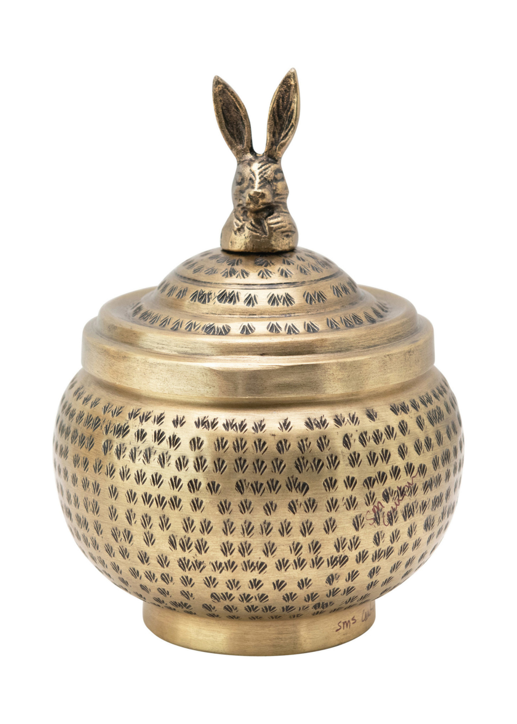 Hammered Container With Brass Rabbit