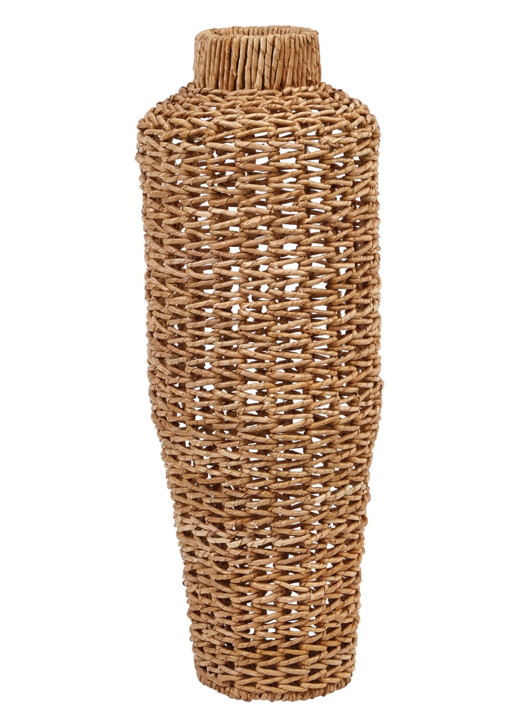 Hand-Woven Water Hyacinth & Rattan Floor Vase